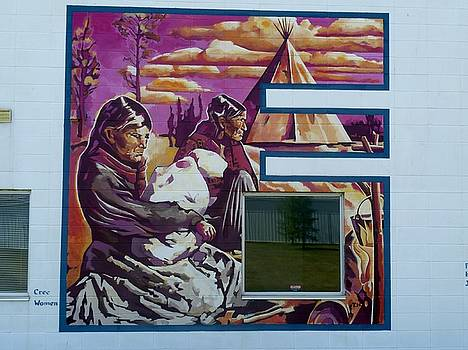 Mural 12x120 feet detail Beaver Tribe Women Midwest by Tim  Heimdal