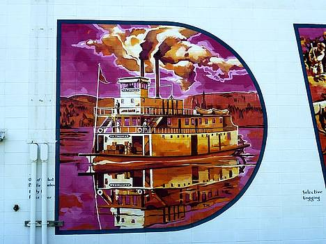 Mural 12x120 feet detail Midwest Paddle Wheeler D A Thomas by Tim  Heimdal