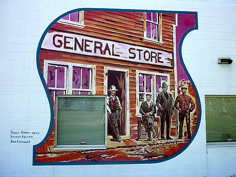 Mural 12x120 feet detail Peace River General Store Midwest by Tim  Heimdal