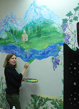 Mural for restaurant Aragvi by Katerina Atapina