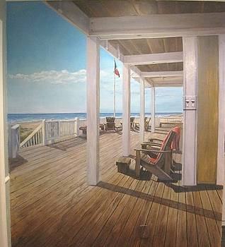 Mural of beach deck by Sherry McClendon