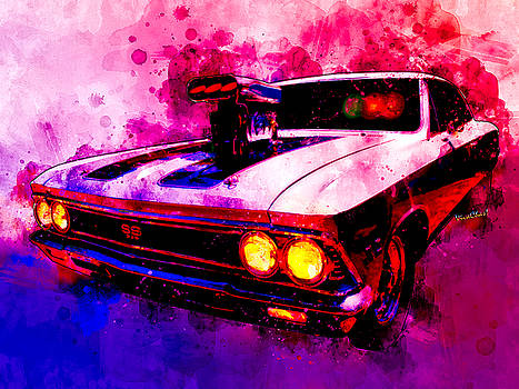 Muscular SS 396 Chevelle Watercolour by Chas Sinklier