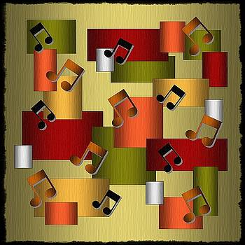 Music Series Golden Notes Abstract by Terry Mulligan
