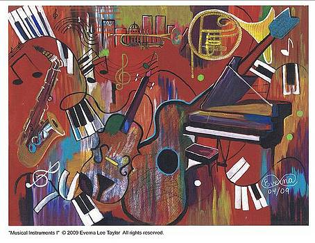 Musical instruments 1 by Everna Taylor
