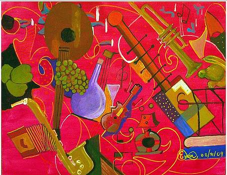 Musical Instruments 13-rasberry Jazz by Everna Taylor