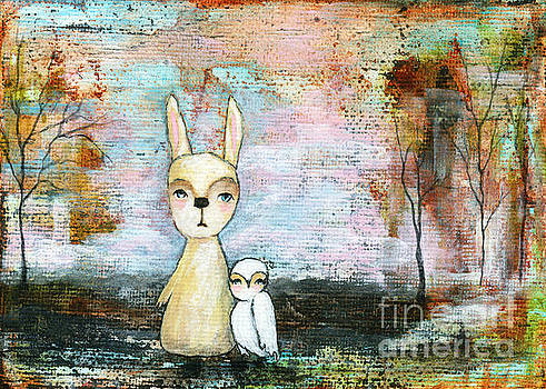 Itaya Lightbourne - My Best Friend Baby Rabbit Baby Owl Abstract Art