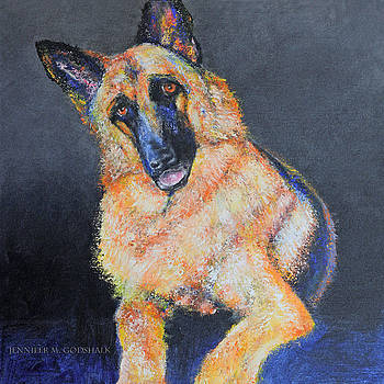 My Dog Jake German Shepherd Painting by Jennifer Godshalk