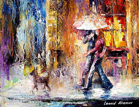 My Dog - PALETTE KNIFE Oil Painting On Canvas By Leonid Afremov by Leonid Afremov