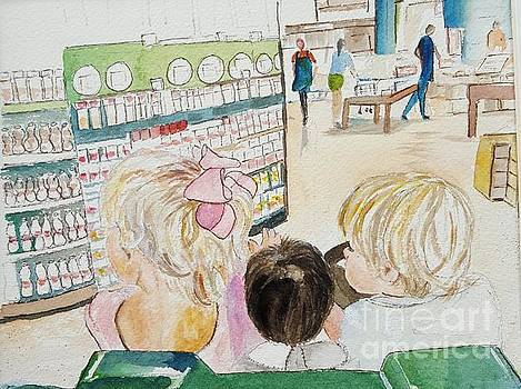 My grandkids at the grocery store by Jill Morris