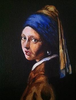 my rendition of Girl with a Pearl Earring by Aaron Druliner