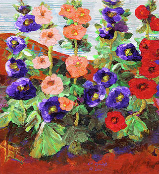 My Secret Garden - Hollyhocks by Kat Solinsky