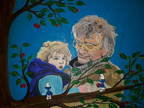 My uncle Theo shows the smurfs in the tree to my nephew Jonathan by Georg Hoffmann