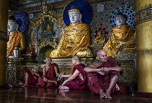 Myanmar Monks Gather by David Longstreath