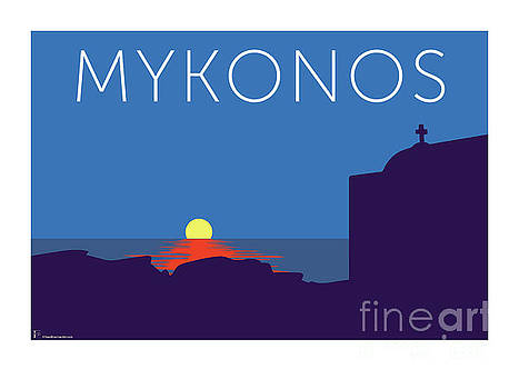 Sam Brennan - MYKONOS Sunset Silhouette - Blue