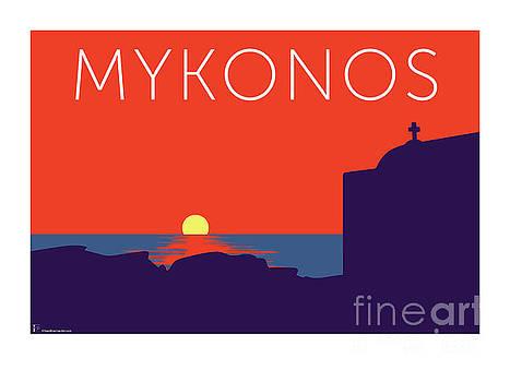 Sam Brennan - MYKONOS Sunset Silhouette - Orange