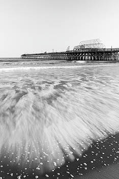 Ranjay Mitra - Myrtle Beach Pier with Atlantic Surf in Black and White