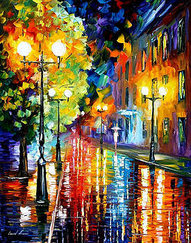 Mysterious Night 2 - PALETTE KNIFE Oil Painting On Canvas By Leonid Afremov by Leonid Afremov