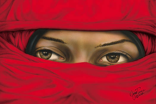 Mysterious Red Veiled Woman by Wayne Pruse