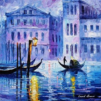Mystery Of Venice - PALETTE KNIFE Oil Painting On Canvas By Leonid Afremov by Leonid Afremov
