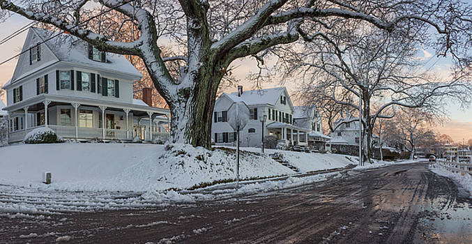 Mystic Houses in Winter by Kirkodd Photography Of New England