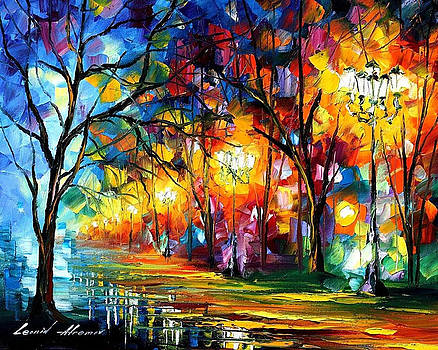 Mystical Alley - PALETTE KNIFE Oil Painting On Canvas By Leonid Afremov by Leonid Afremov