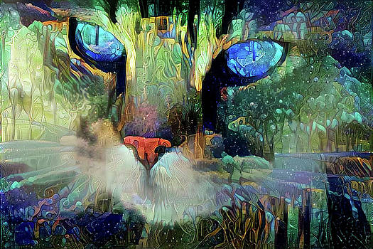 Mystical Cat Art by Peggy Collins