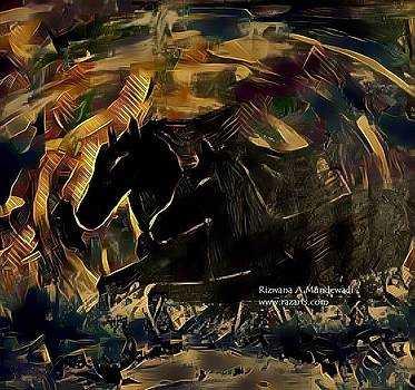 Rizwana Mundewadi - Mystical Horses Black Galloping Luck