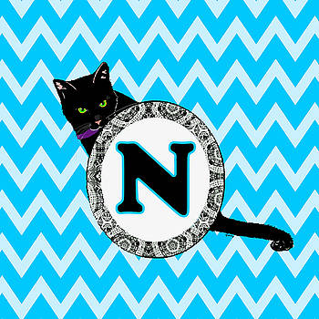 N Cat Chevron Monogram by Paintings by Gretzky