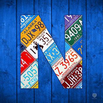 Design Turnpike - N License Plate Letter Art Blue Background