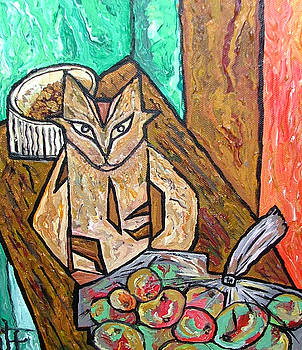 Naive Cat with Apples by Heather Lennox