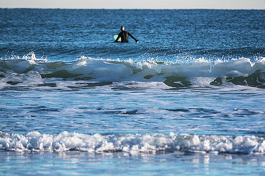 Nantasket Beach Surfer Behind the Wave Hull MA by Toby McGuire
