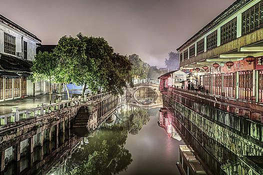 Nanxiang Ancient Town at Night by Marc Garrido