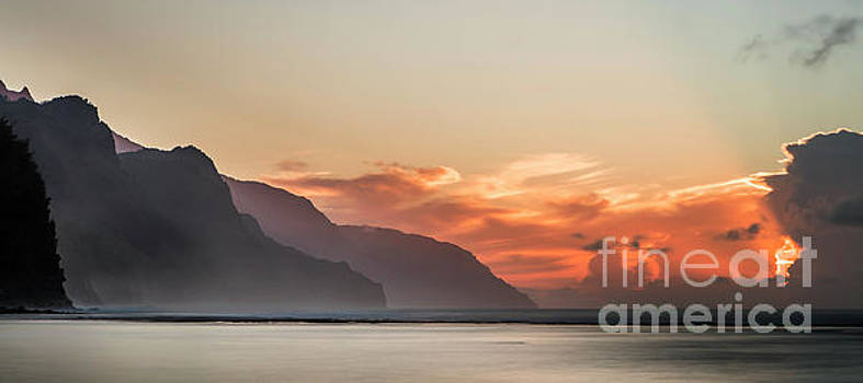 Napali Coast Kauai Hawaii Panoramic Sunset by Dustin K Ryan