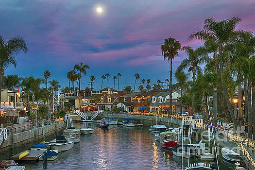 David Zanzinger - Naples Canals Full Moon Gondolier