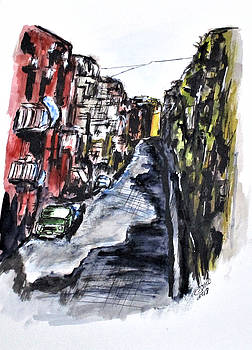 Naples City Street by Clyde J Kell