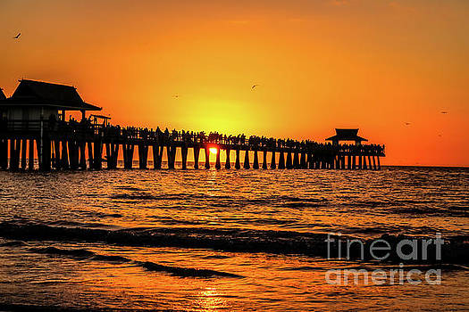 Naples Pier sunset 1 by Claudia M Photography