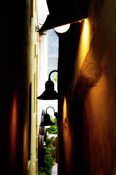 Colin Cuthbert - Narrow Walkway with Lamps