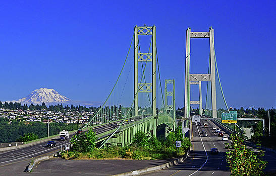 Narrows Bridge with Mt Rainier by Jack Moskovita