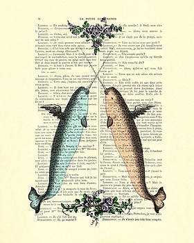 Narwhals in love by Madame Memento