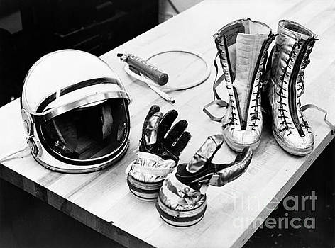 R Muirhead Art - NASA Mercury suit components including gloves boots and helmet