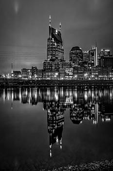 Nashville Skyline Reflecton in Black and White by Patrick Collins