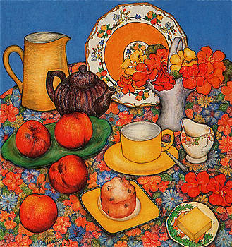 Nasturtiums and Peaches by Richard Lee