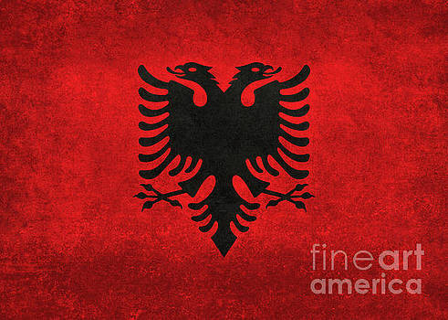 National flag of Albania with distressed vintage treatment  by Bruce Stanfield