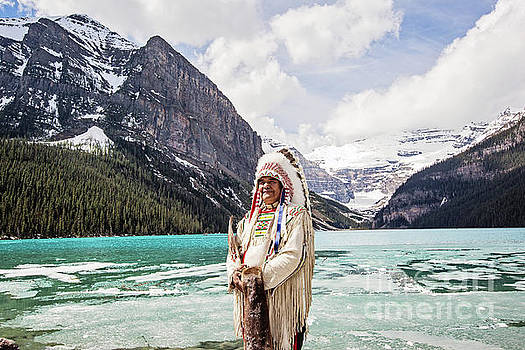 Native American at Lake Louise by Scott Pellegrin