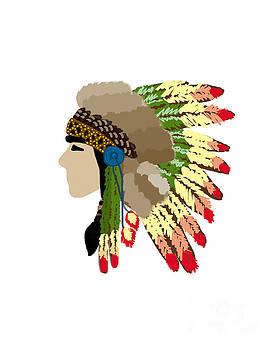 Native American Indian Chief Headdress by Rasirote Buakeeree