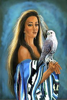 Native American maiden with falcon by Regina Femrite