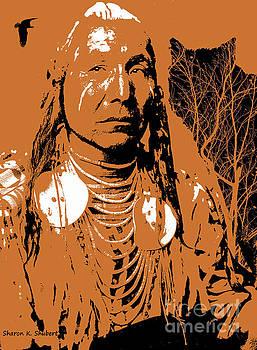 Native American Man And Wolf by Sharon K Shubert