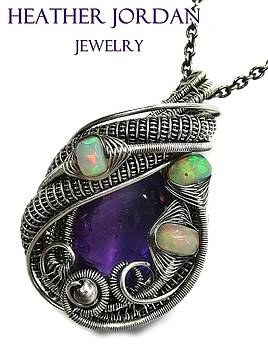 Natural Amethyst Wire-Wrapped Pendant Necklace in Antiqued Sterling Silver with Ethiopian Welo Opals by Heather Jordan