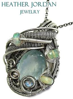 Natural Aquamarine Wire-Wrapped Pendant in Sterling Silver with Ethiopian Opal n Rainbow Mooonstone by Heather Jordan