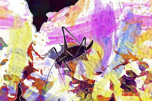 Natural Grasshopper White Flower  by PixBreak Art